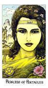 Princess of Coins Tarot card in Cosmic deck