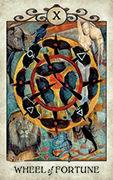 Wheel of Fortune Tarot card in Crow Tarot deck