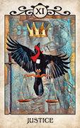Justice Tarot card in Crow Tarot deck