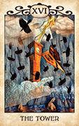 The Tower Tarot card in Crow Tarot deck