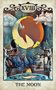 The Moon Tarot card in Crow Tarot deck