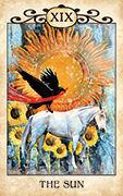 The Sun Tarot card in Crow Tarot deck