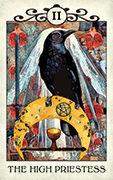 The High Priestess Tarot card in Crow Tarot deck