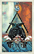Two of Wands Tarot card in Crow Tarot deck