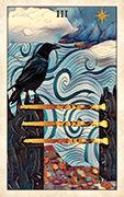 Three of Wands Tarot card in Crow Tarot deck
