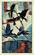 Five of Wands Tarot card in Crow Tarot deck