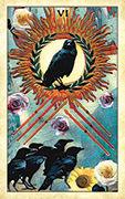 Six of Wands Tarot card in Crow Tarot deck