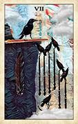 Seven of Wands Tarot card in Crow Tarot deck