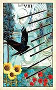 Eight of Wands Tarot card in Crow Tarot deck