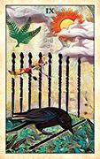 Nine of Wands Tarot card in Crow Tarot deck