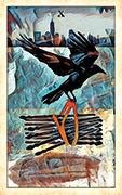 Ten of Wands Tarot card in Crow Tarot deck