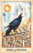 Page of Wands Tarot card in Crow Tarot deck