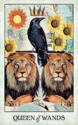 Queen of Wands Tarot card in Crow Tarot deck