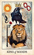 King of Wands Tarot card in Crow Tarot deck