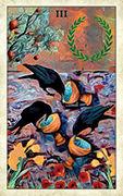 Three of Cups Tarot card in Crow Tarot deck