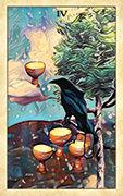 Four of Cups Tarot card in Crow Tarot deck