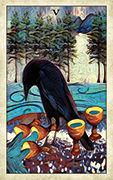Five of Cups Tarot card in Crow Tarot deck