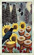 Six of Cups Tarot card in Crow Tarot deck
