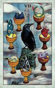 Seven of Cups Tarot card in Crow Tarot deck