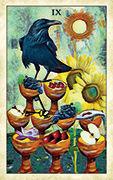 Nine of Cups Tarot card in Crow Tarot deck