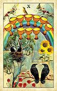 Ten of Cups Tarot card in Crow Tarot deck
