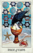 Page of Cups Tarot card in Crow Tarot deck