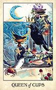 Queen of Cups Tarot card in Crow Tarot deck
