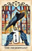 The Hierophant Tarot card in Crow Tarot deck