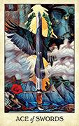 Ace of Swords Tarot card in Crow Tarot deck