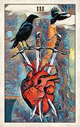 Three of Swords Tarot card in Crow Tarot deck