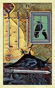 Four of Swords Tarot card in Crow Tarot deck