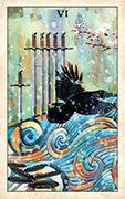Six of Swords Tarot card in Crow Tarot deck
