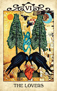 The Lovers Tarot card in Crow Tarot deck