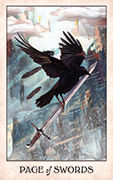 Page of Swords Tarot card in Crow Tarot deck