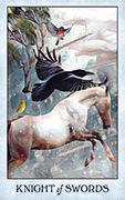 Knight of Swords Tarot card in Crow Tarot deck