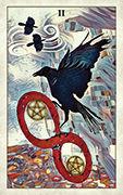 Two of Pentacles Tarot card in Crow Tarot deck