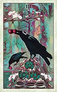 Three of Pentacles Tarot card in Crow Tarot deck