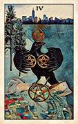 Four of Pentacles Tarot card in Crow Tarot deck