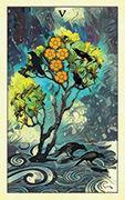 Five of Pentacles Tarot card in Crow Tarot deck