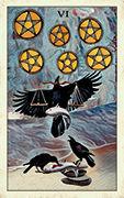 Six of Pentacles Tarot card in Crow Tarot deck