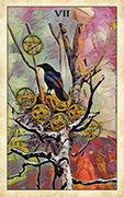 Seven of Pentacles Tarot card in Crow Tarot deck