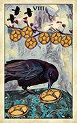 Eight of Pentacles Tarot card in Crow Tarot deck