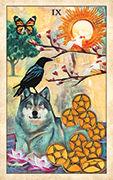 Nine of Pentacles Tarot card in Crow Tarot deck
