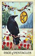 Page of Pentacles Tarot card in Crow Tarot deck