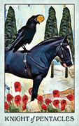 Knight of Pentacles Tarot card in Crow Tarot deck