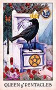 Queen of Pentacles Tarot card in Crow Tarot deck