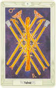 Seven of Wands Tarot card in Crowley Tarot deck