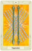 Ten of Wands Tarot card in Crowley Tarot deck