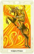 Knight of Wands Tarot card in Crowley Tarot deck