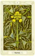 Three of Swords Tarot card in Crowley Tarot deck